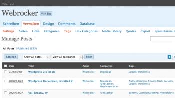 Wordpress 2.5 von hinten