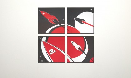Space Pirates - Digital Ink On Canvas, 2008. 4x 70x70cm (c) wondertom.de