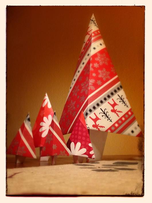 Origamiweihnachtsbaumwald