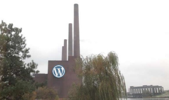 WordPress Logo an die VW-Fabrik gephotoshopped