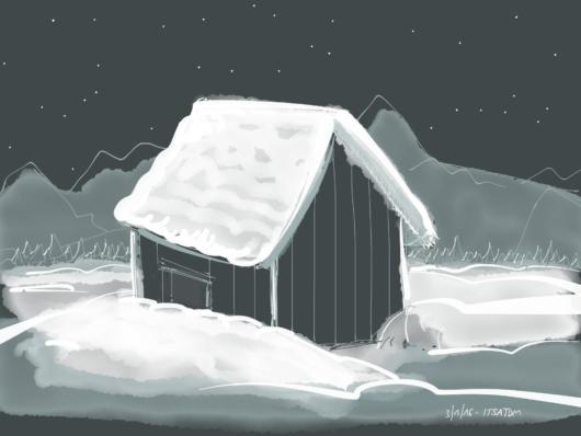 Hütte im Dunkeln im Schnee.
