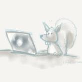Eichhörnchen vor Laptop hats Passwort vergessen