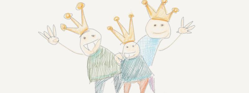 Drei Bleistiftmännchen