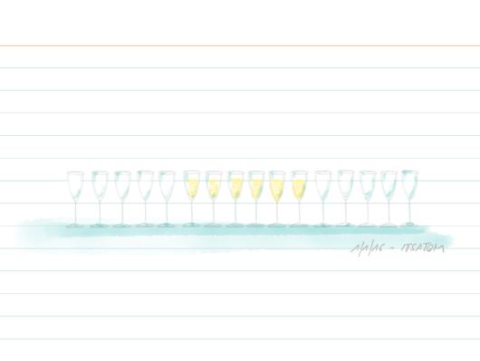 Sketch 1/365: 16 Gläser, die sechs in der Mitte sind voll, der Rest leer