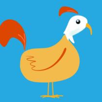 Gelber Vogel mit weissem Kopf auf blauem Grund