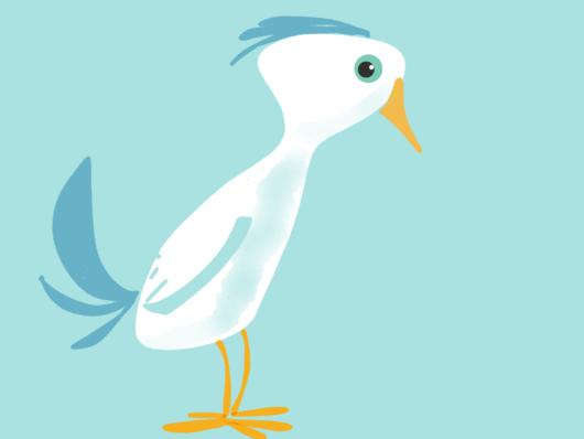 Dünner Vogel, gezeichnet mit dem Finger und der paper App auf dem iPad