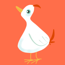 Weisser Vogel auf dunkelorangenem Hintergrund