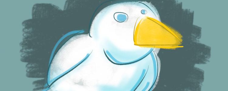 Komischer Vogel, gezeichnet mit der ProCreate App auf dem iPad