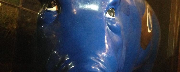Ein blaues Schwein