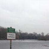 """Erwachsene und Kinder auf dem zugefrorenen See; im Vordergrund ein Schild mit """"Eisfläche nicht betreten, Lebensgefahr"""""""
