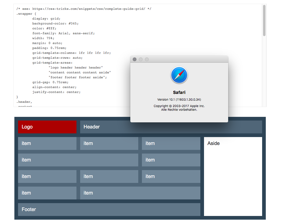 Screenshot Mac OsX Safari mit CSS-Grid