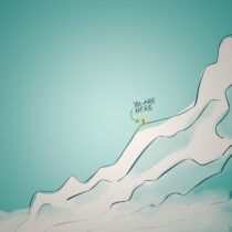 Illustration of a stick figure, mid mountain, still some way to go.