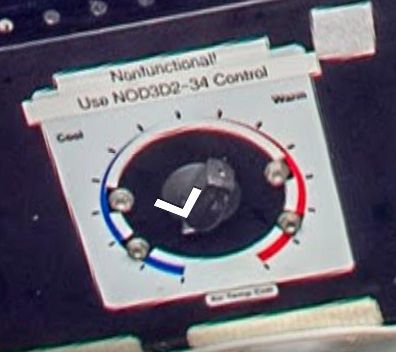 Temperaturregler mit Aufkleber: Nonfunctional! use NOD3D2-34 control