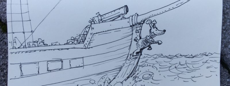 Galleonsfigur, schwarzer Pudel