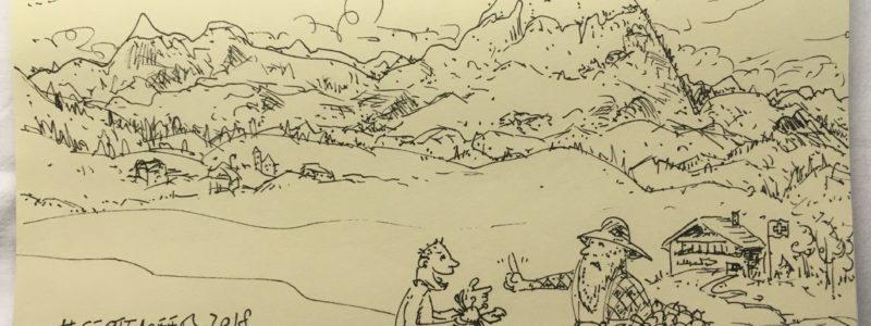 Typ versucht mit Krabbe in der Hand, Äpfel zu kaufen. Im Hintergrund Berge und eine Schweizer Flagge