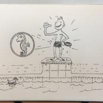 Comic Mini-Me; stolz wie Bolle mit Seepferdchen Schwimmabzeichen an der Badehose