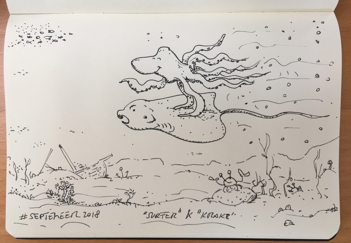 Krake surft auf Rochen.