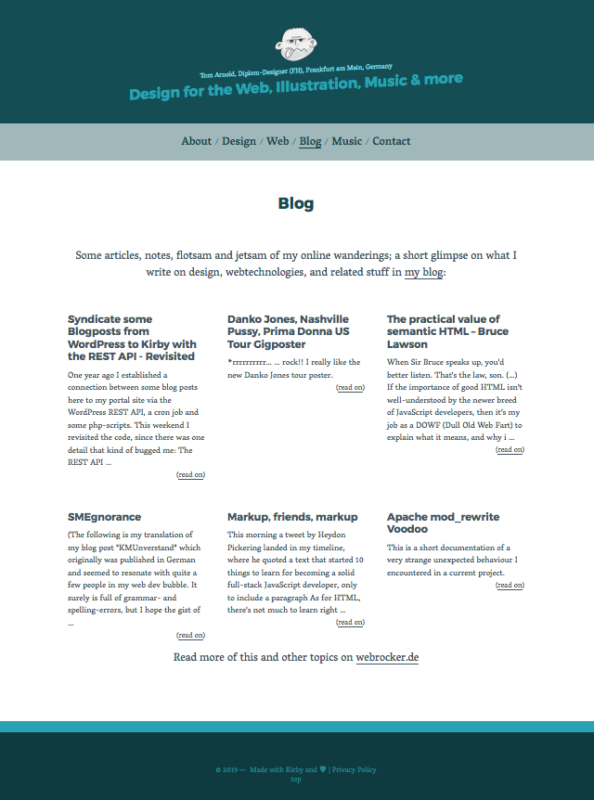 Screenshot portal site with the blog teasers