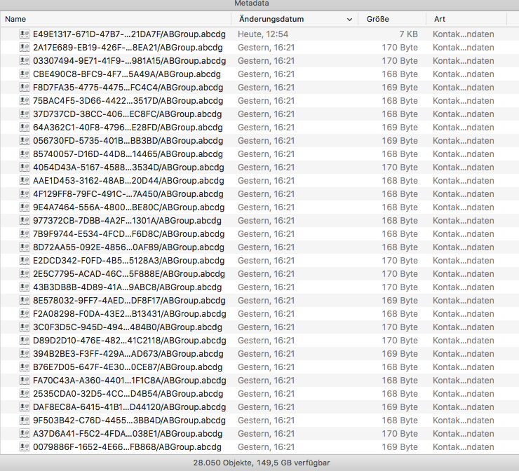 Screenshot, showing a fraction of the 28050 group files