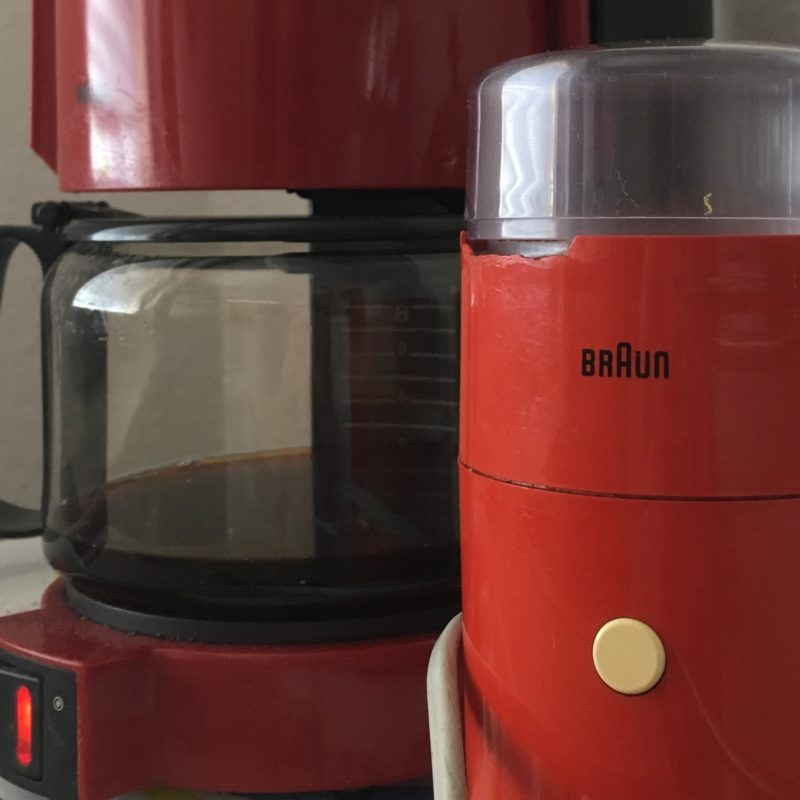 Braun coffee machine in the background, Braun coffee grinder in the foreground. Both from the 70ies and still going strong