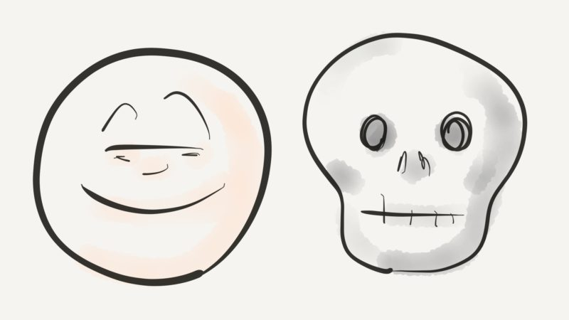 Illustration of a smiley left and a skull right, by wondertom.de