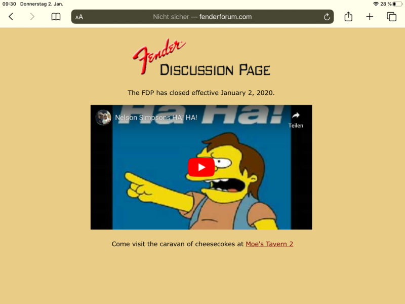 Screenshot of the fenderforum.com page, showing Simsons character Nelson's iconic 'Ha Ha'