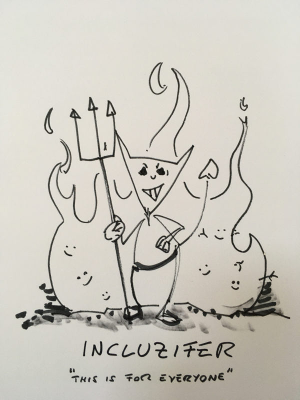 Comic satan in front of flames: Incluzifer - This is for everyone