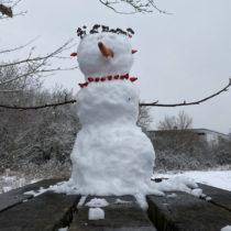 Eine Figur aus Schnee mit einer Halskette aus Beeren