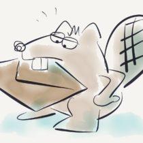 Illustration eines Bibers mit Briefumschlag im Maul