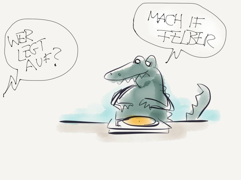 T-Rex hinterm Plattenspieler. Aus dem Off die Frage: Wer legt auf? Antwort T-Rex: Mach if Felber