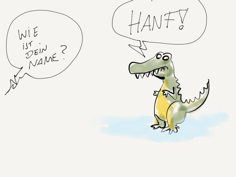 Frage aus dem off: Wie heisst Du? T-Rex: Hanf!