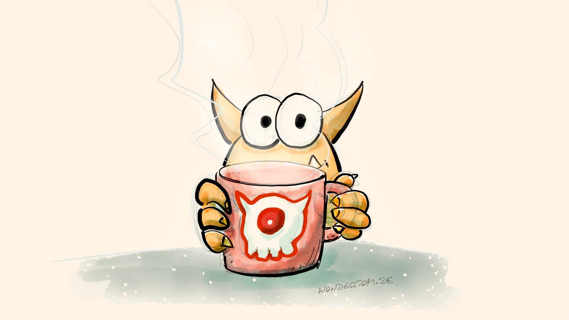 Gezeichnetes Monster mit Monsterkaffeetasse